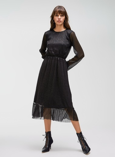 People By Fabrika Parlak Elbise Siyah